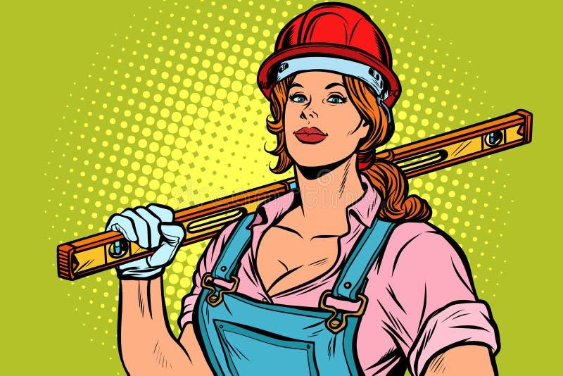 Pop art woman Builder with level vector illustration