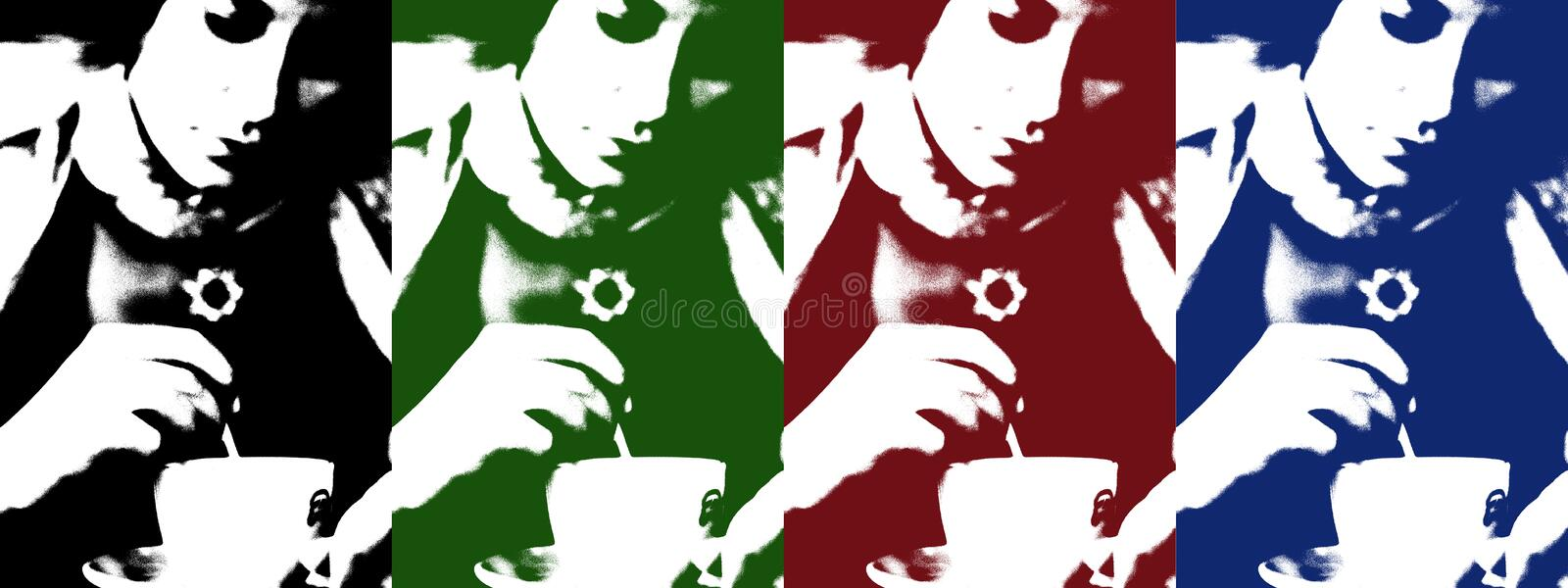 Download Pop Art Of Woman With Coffee Cup Stock Illustration - Illustration of caffeine, drawing: 1088229