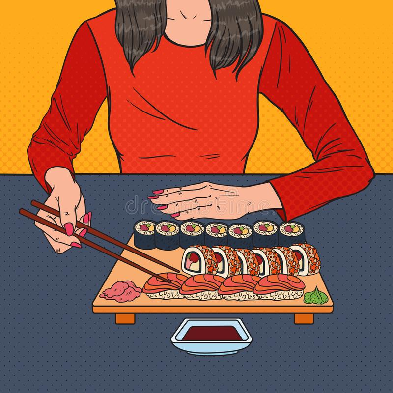 Pop Art Woman Eating Sushi bij het Aziatische Restaurant Japans voedsel vector illustratie