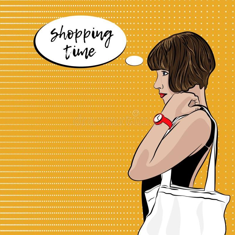 Pop Art Woman With Ecobag Het winkelen tijd royalty-vrije illustratie