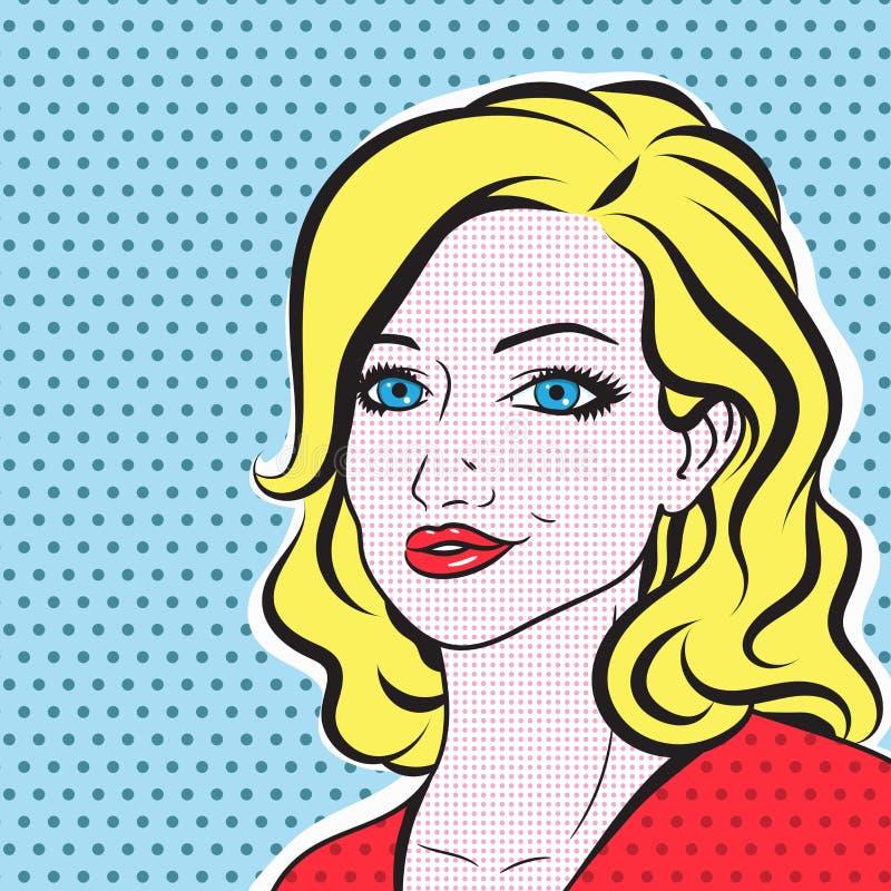Free Pop Art Woman Face - Retro Comic Vector. Hand Drawn Blonde Woman Portrait Stock Photo - 200592740