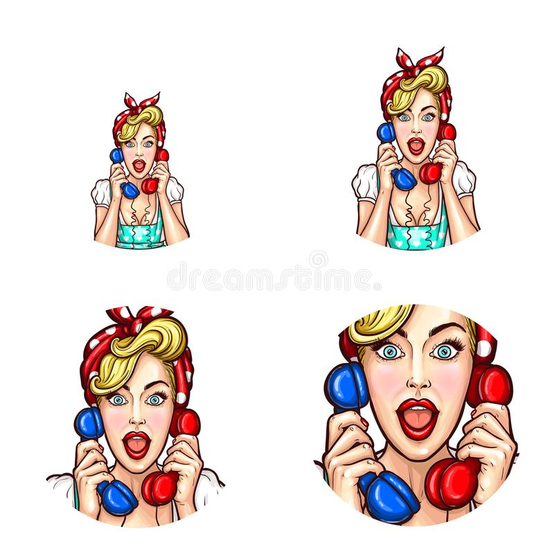 Pop art woman or girl speaking gossip on phone with open mouth vector retro sketch icons set. Vector pop art icons set for social net profile avatars, woman vector illustration