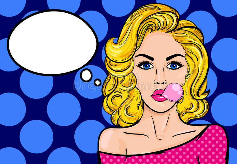 Pop-art woman with gum. Pop-art blond woman with gum on a blue vintage background. Vector illustration with bubble for text stock illustration