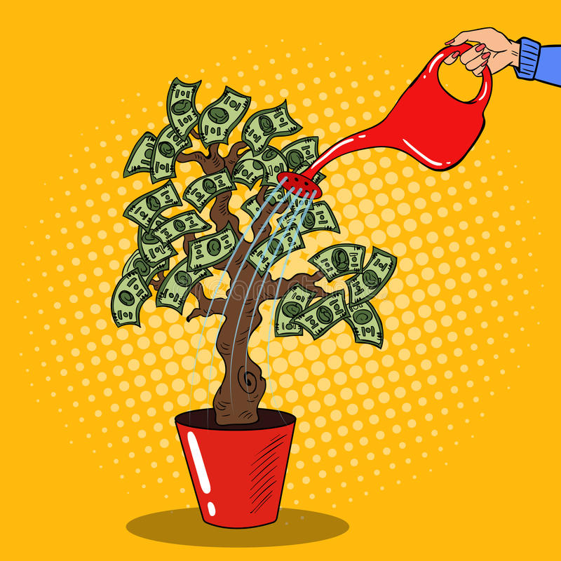 Free Pop Art Woman Hand With Can Watering Money Tree Stock Image - 79651101