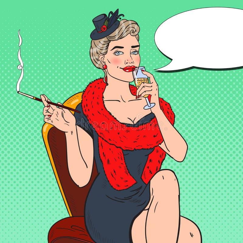 Pop Art Woman i päls med exponeringsglas av Champagne Femme fatale retro illustration royaltyfri illustrationer