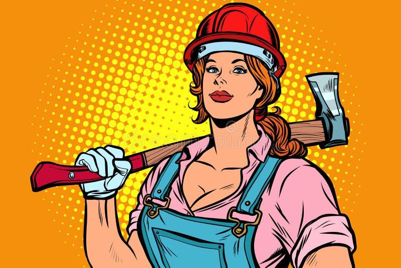 Pop art woman lumberjack with axe royalty free illustration