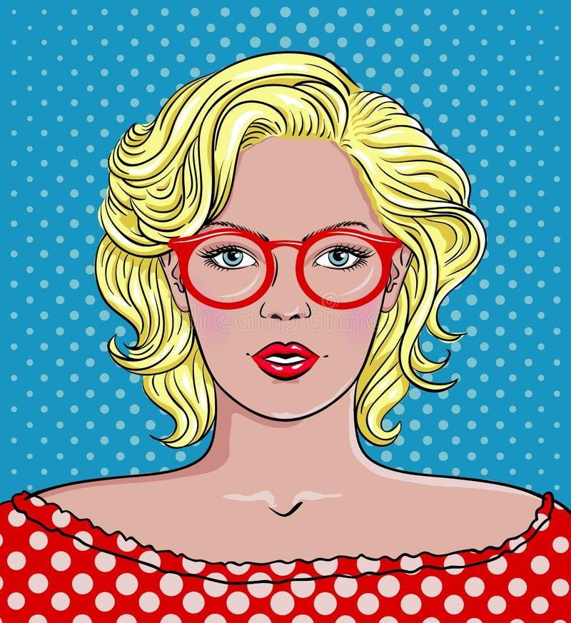 Pop Art Woman med exponeringsglas Röda exponeringsglas för kvinna vektor illustrationer