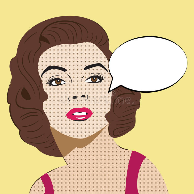 Pop Art Woman met Grappige Toespraakbel vector illustratie