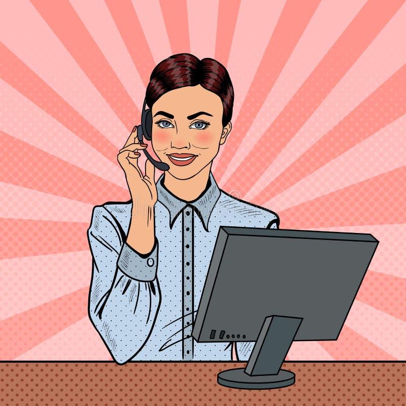 Pop Art Woman Operator Consulting Client på heta linjen vektor illustrationer