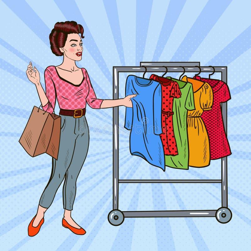 Pop Art Woman with Shopping Bags Choosing Dress vector illustration