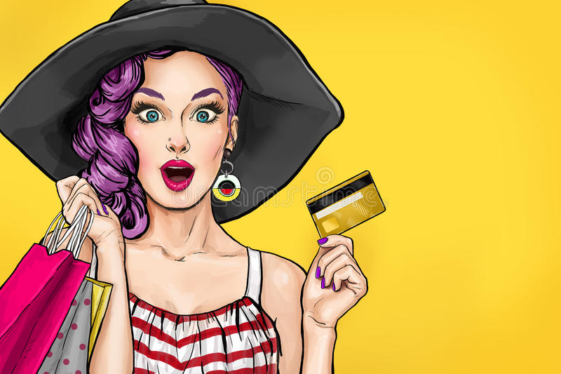 pop art woman on shopping woman with bank card stock illustration