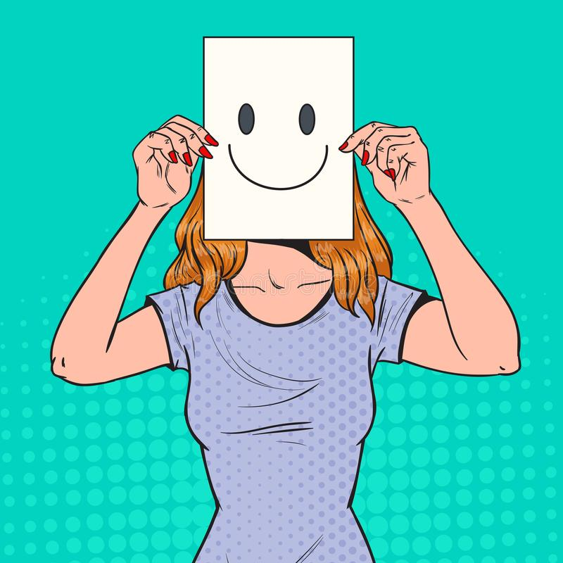Emoticon Holding A Paper Sign Stock Vector