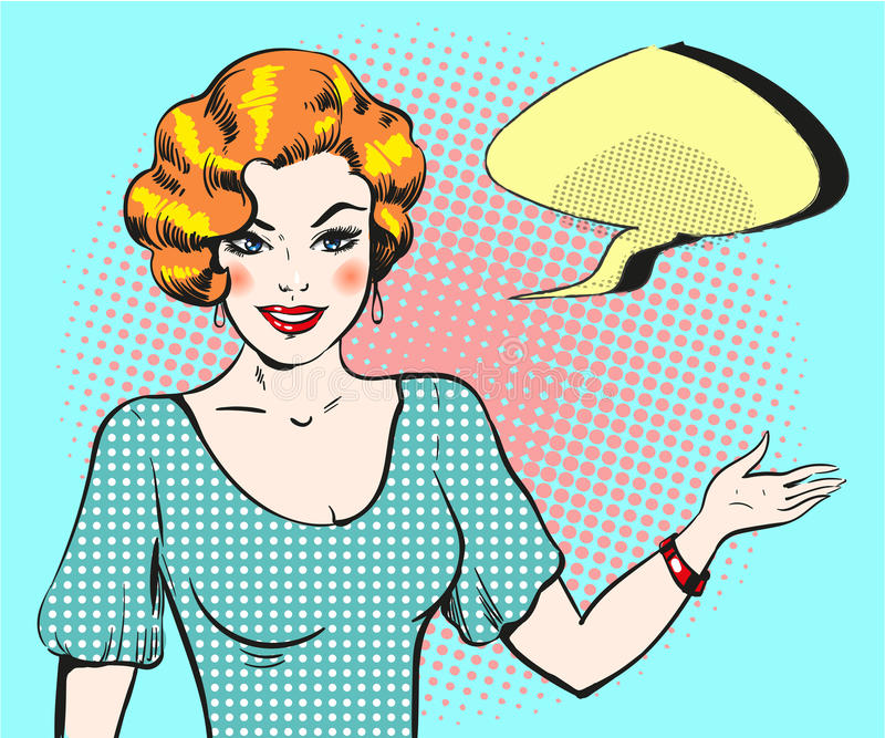 Pop art woman with speech bubble, pin up retro style woman royalty free illustration