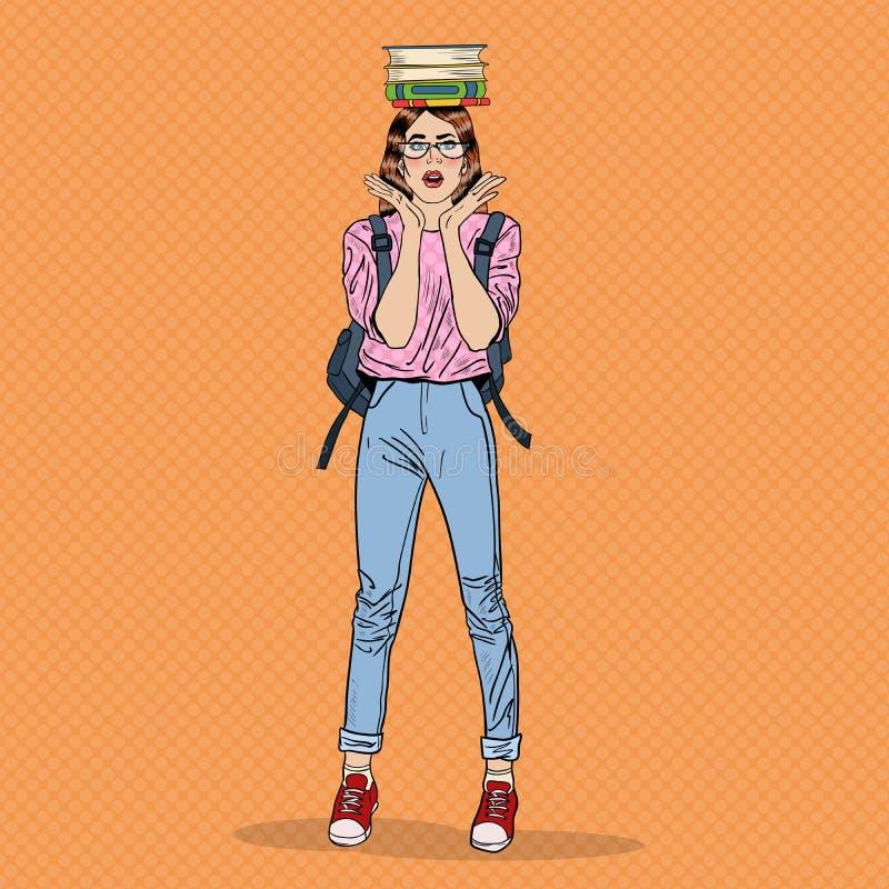 Pop Art Woman Student met Boeken op haar Hoofd vector illustratie