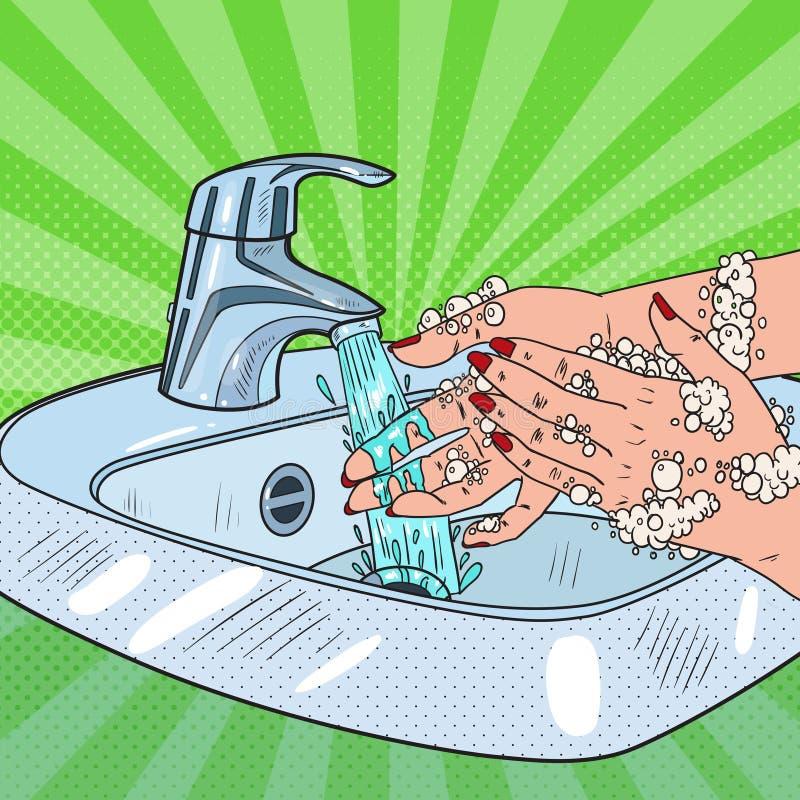 Pop Art Woman Washing Hands Begrepp för hygienSkincare hälsovård Kvinnlign räcker lokalvård med skum av tvål vektor illustrationer