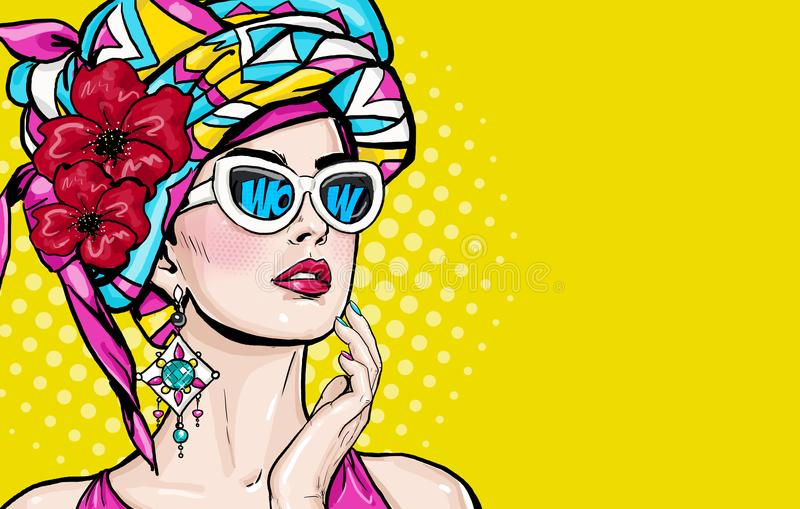 Pop Art woman with wow face in glasses holding hand near her cheeks. Advertising poster of sale or discount with club girl vector illustration