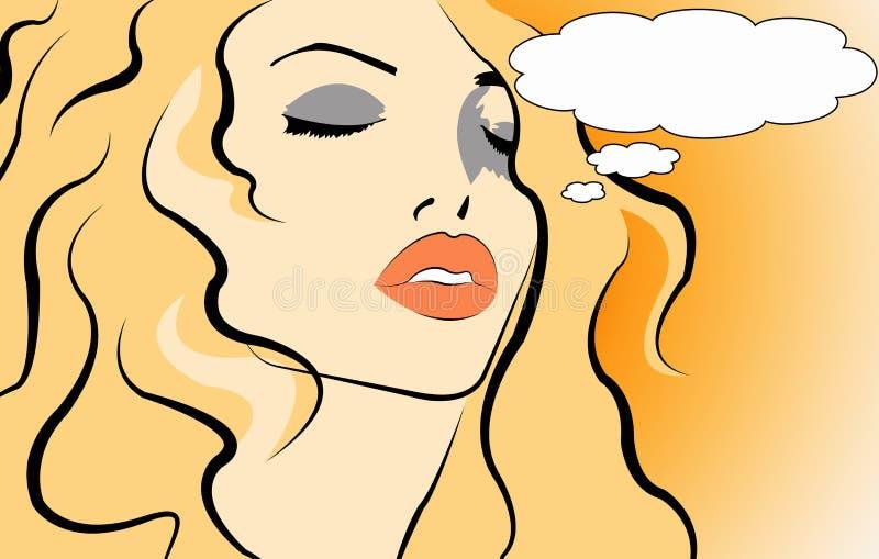 Download Pop art women stock illustration. Image of text, thinking - 21668367