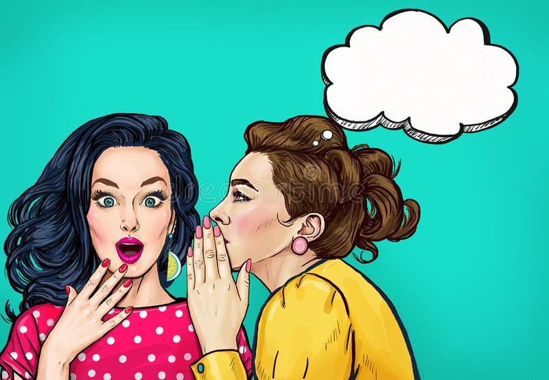 Pop art women gossip with thought bubble. Advertising poster. Or disco flayer design of female conversation. Two beautiful girls talking about you stock illustration