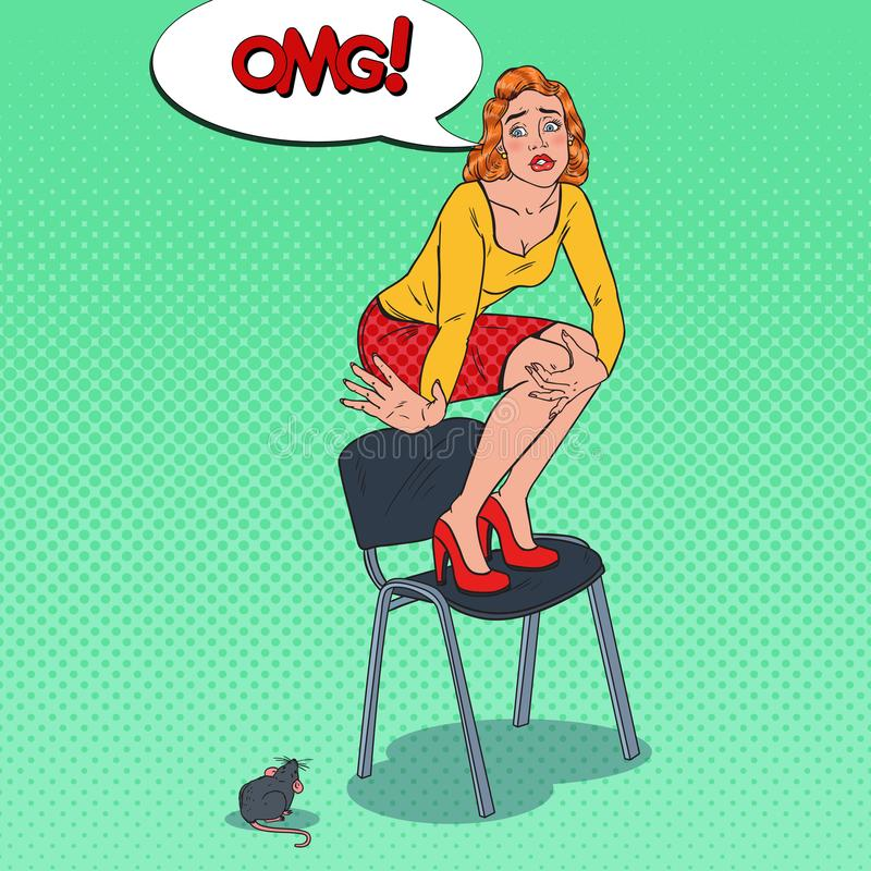 Pop Art Worried Young Woman Scared by the Mouse. Female Phobia of Rodent stock illustration