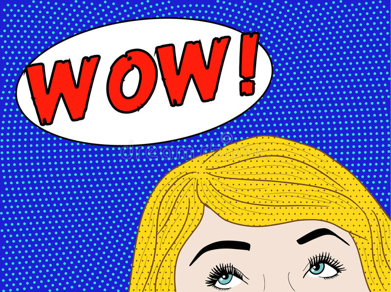 Pop art wow woman. Pop art woman with half of the face shown, looking at wow speech bubble stock illustration