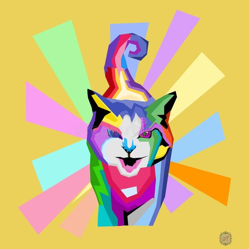 Pop art or wpap of cat full collor royalty free stock image