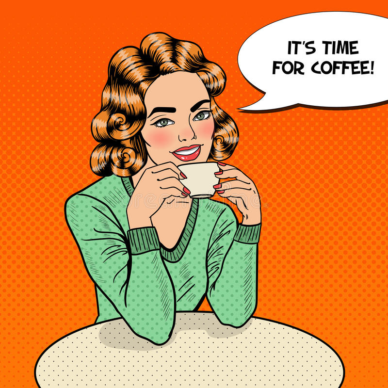 Pop Art Young Beautiful Woman Drinking Coffee in Cafe. Vector illustration royalty free illustration