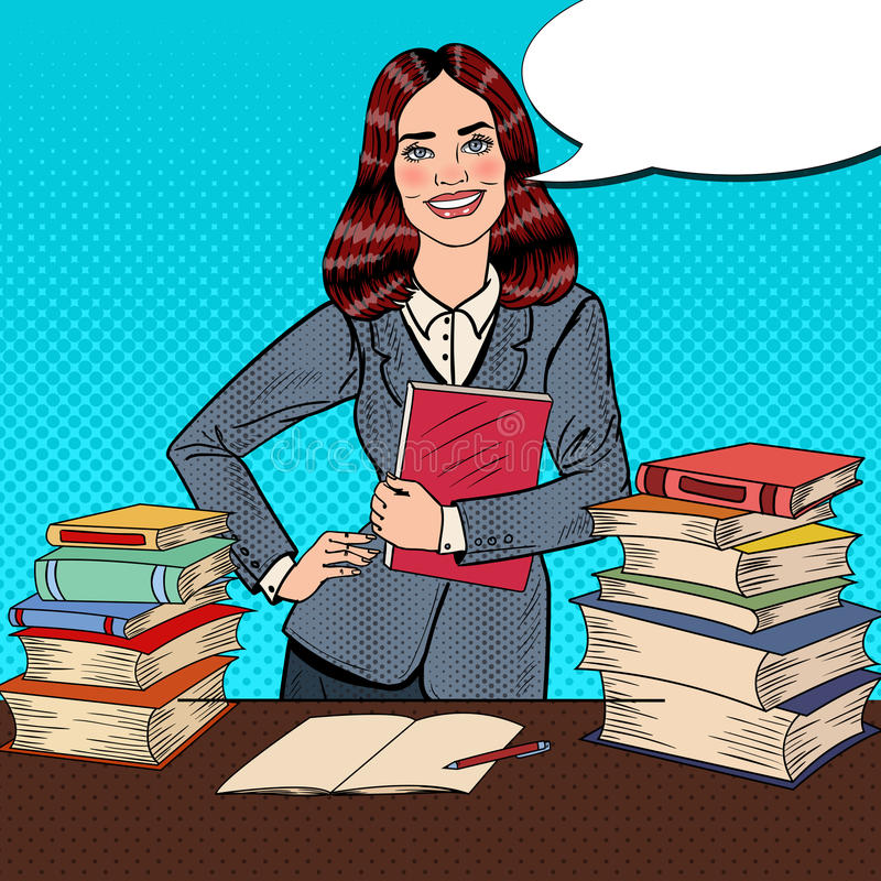 Download Pop Art Young Happy Woman With Book Standing In Front Of Library Table Stock Vector - Illustration of learn, halftone: 83720121