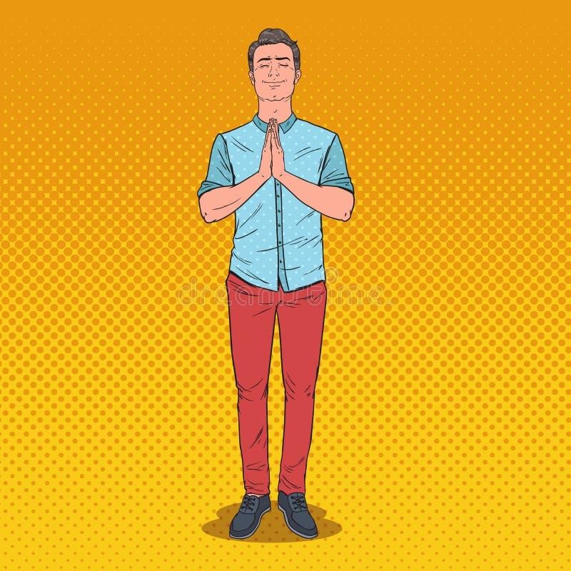 Pop Art Young Man Praying met Glimlach Gelukkig Mannelijk Gebed stock illustratie