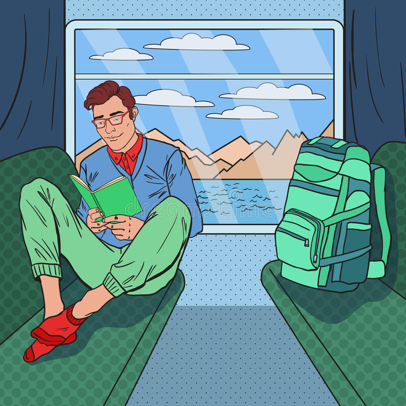 Pop Art Young Man Travelling vid drevet och läseboken royaltyfri illustrationer