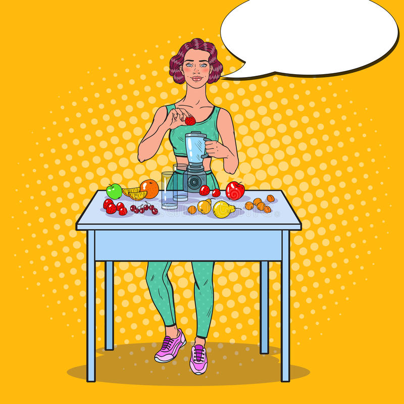 Pop Art Young Woman Making Smoothie in Blender with Fresh Fruits. Healthy Eating stock illustration
