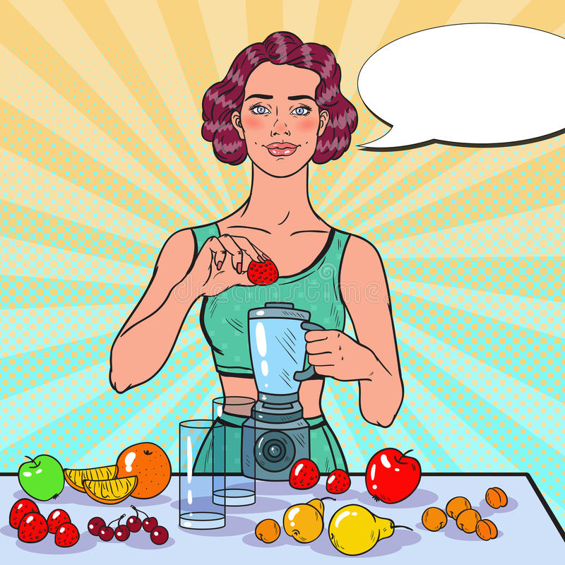 Pop Art Young Woman Making Smoothie with Fresh Fruits. Healthy Eating. Dieting Vegeterian Food Concept vector illustration