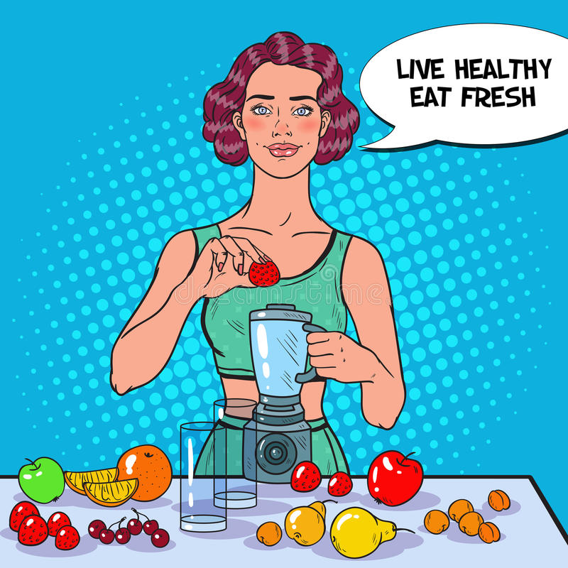 Pop Art Young Woman Making Smoothie with Fresh Fruits. Healthy Eating. Dieting Vegeterian Food royalty free illustration