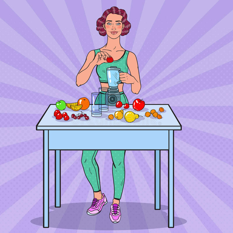 Pop Art Young Woman Making Smoothie with Fresh Fruits. Healthy Eating vector illustration