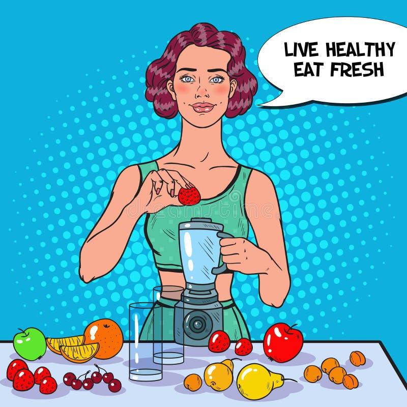 Pop Art Young Woman Making Smoothie met Verse Vruchten Het gezonde Eten Het op dieet zijn Vegeterian Voedsel royalty-vrije illustratie