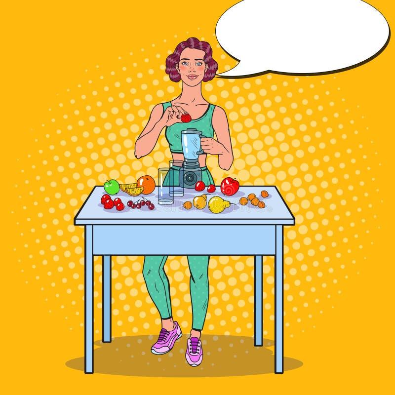 Pop Art Young Woman Making Smoothie in Mixer met Verse Vruchten Het gezonde Eten stock illustratie