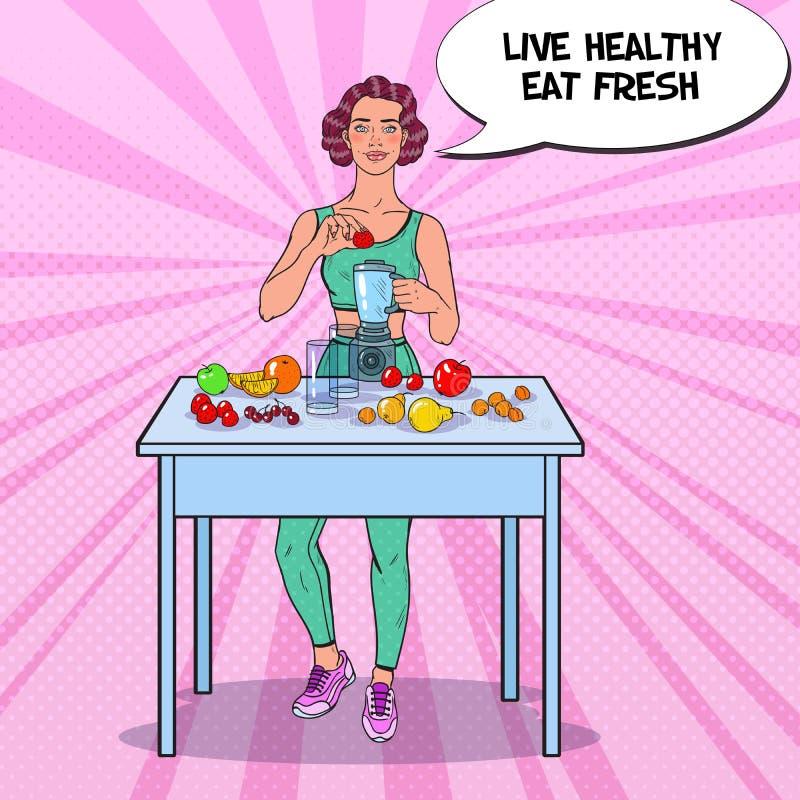 Pop Art Young Woman Making Smoothie in Mixer met Verse Vruchten Het gezonde Eten Het op dieet zijn Vegeterian Voedsel royalty-vrije illustratie
