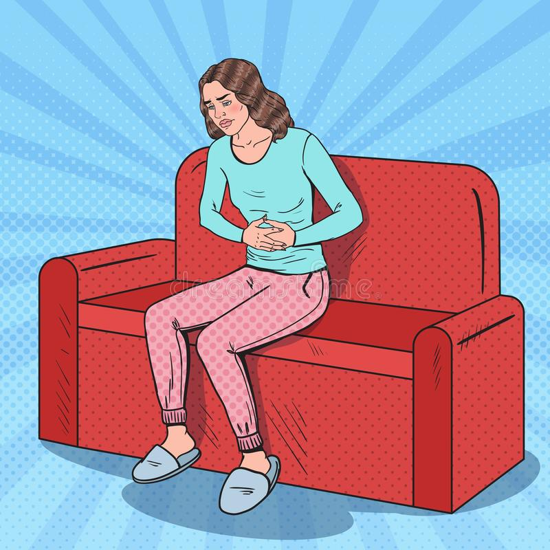 Pop Art Young Woman Suffering Stomach Ache. Abdominal Pain stock illustration