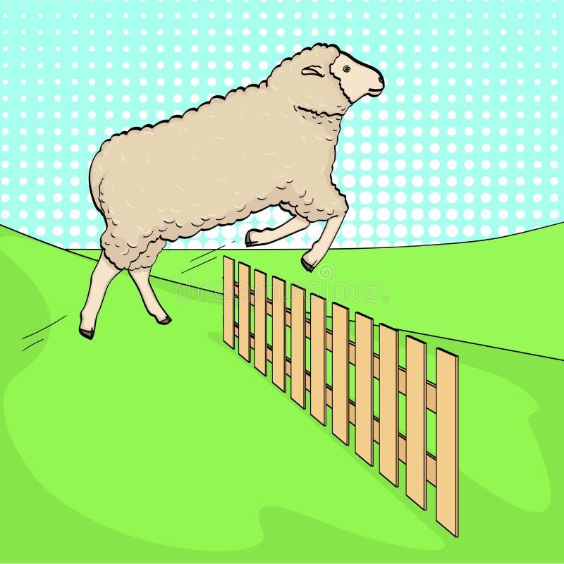 Pop-artachtergrond, de schapensprongen over de omheining Opleidingsdieren op het landbouwbedrijf rooster royalty-vrije illustratie