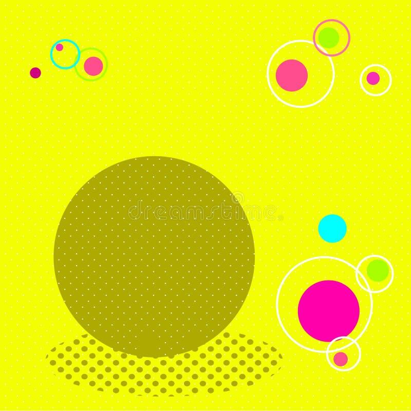 Pop-artachtergrond Geel, bruin, karmozijnrood, blauw en oranje Roostervierkant vector illustratie