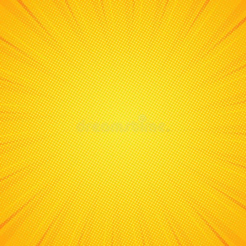 Pop-artachtergrond Gekleurd patroon geel Grappige zonnestraalachtergrond Vectoreps 10 vector illustratie