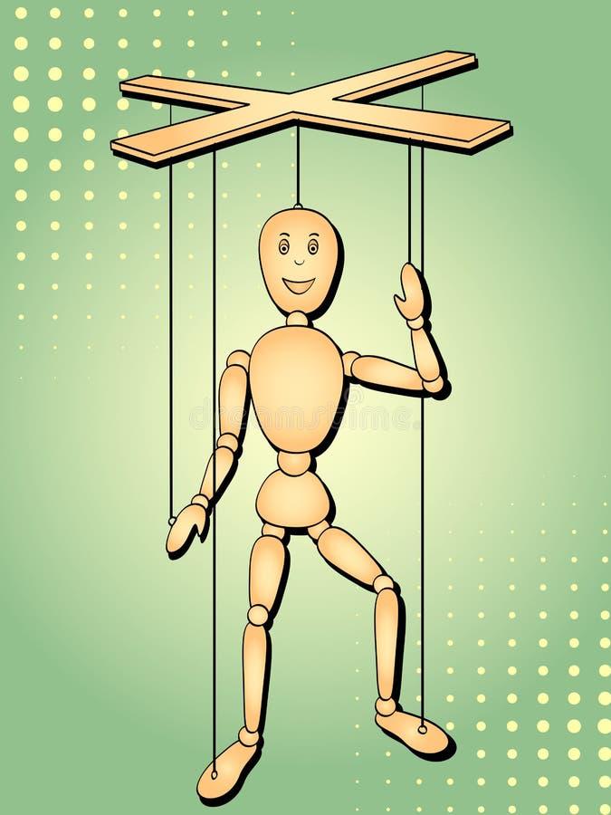 Pop-artachtergrond Het voorwerp is een stuk speelgoed mens, een marionet op de draad Vectormarionet stock illustratie