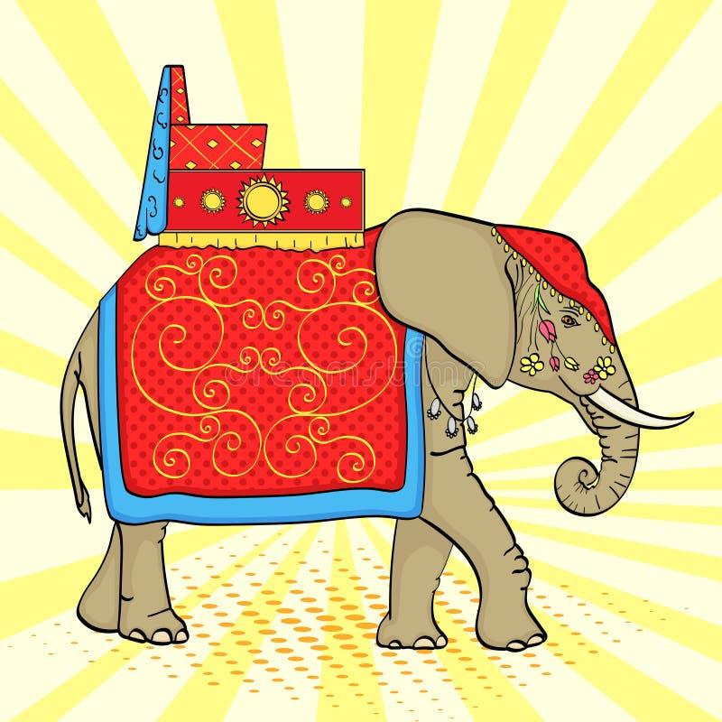 Pop-artachtergrond, Olifant in India, een heilig dier, decoratie voor een vakantie Vector stock illustratie