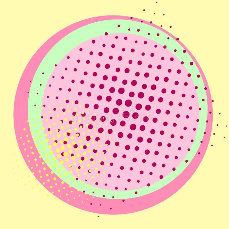 Pop-artachtergrond, voor het eten Kleuren van 1980 Roze, blauw, groen, geel aan het punt De imitatie van grappige stijl royalty-vrije illustratie