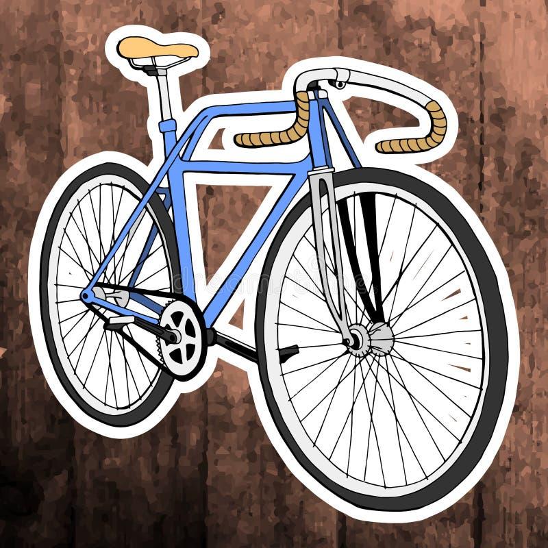 Pop-Arten-Aufkleber Hand, die Retro- Fahrrad zeichnet Vektor stockfotografie