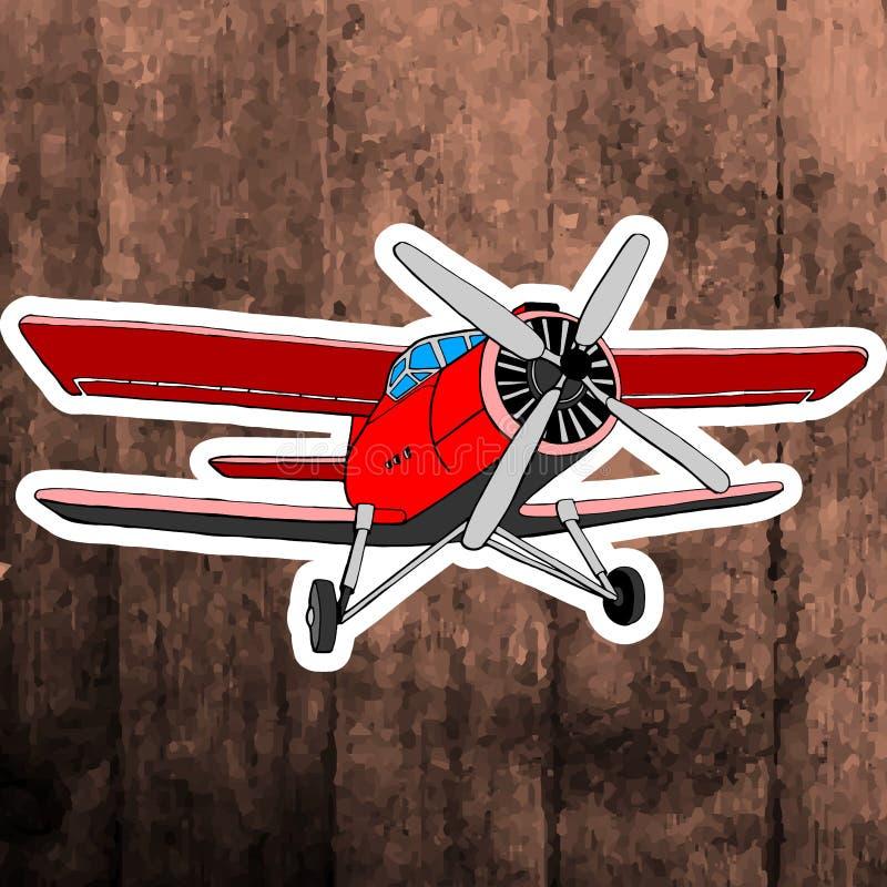 Pop-Arten-Aufkleber Hand, die Retro- Flugzeug zeichnet lizenzfreies stockbild
