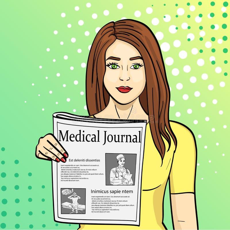 Pop-Arten-Blauhintergrund Shows des jungen Mädchens, die Zeitung mit Nachrichten ausdehnen Journalismus, medizinische Zeitschrift lizenzfreie abbildung