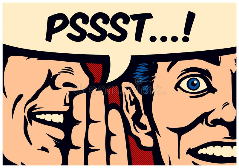 Pop-Arten-Comic-Buch gossiip Mann, der Geheimnis oder Nachrichten im Ohr der überraschten Person mit Spracheblasenvektorillustrat stock abbildung