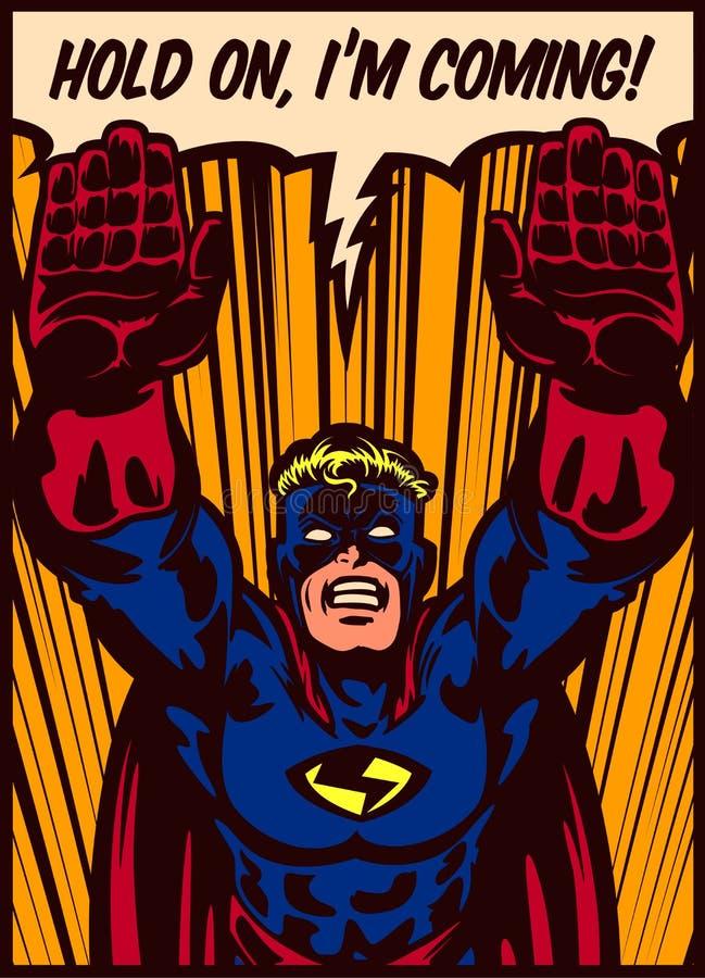 Pop-Arten-Comics reden den Superhelden an, der zur Rettungsvektorillustration fliegt vektor abbildung