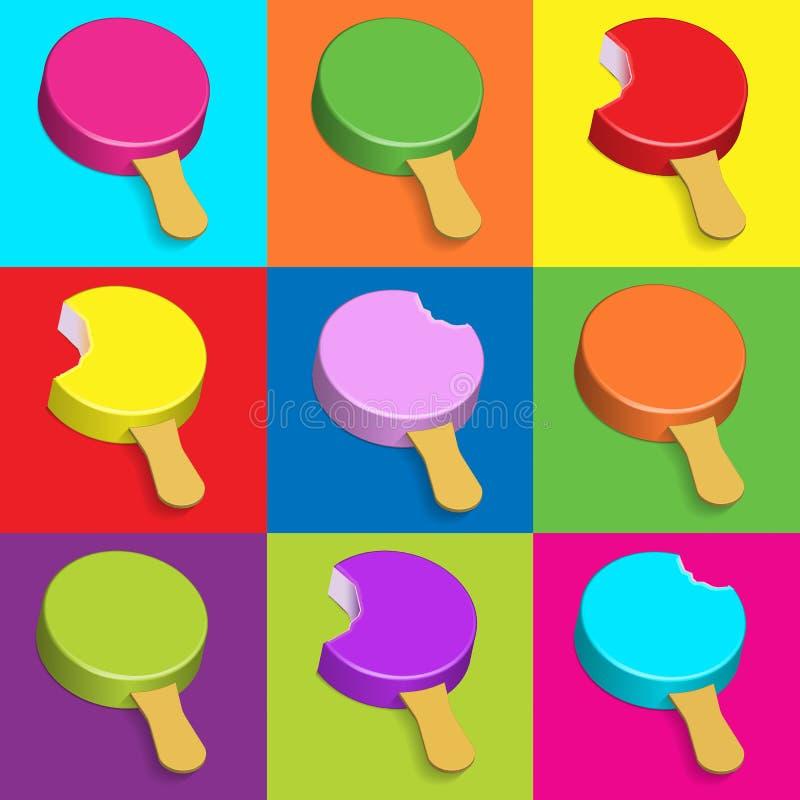 Pop-Arten-Eiscreme in den verschiedenen Farben, isometrische Collage 3d stock abbildung