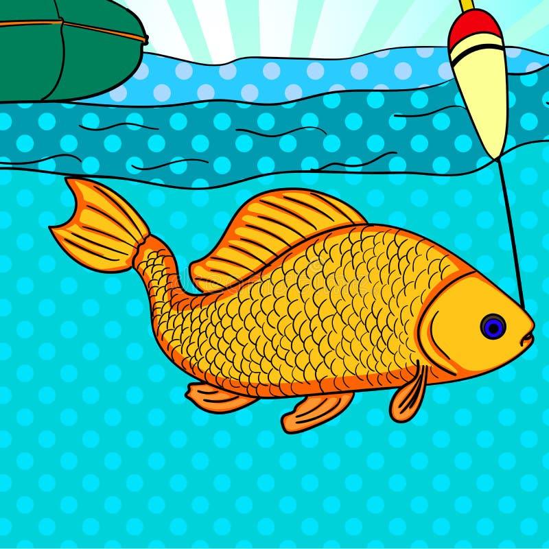 Pop-Arten-Fischen Fische gefangen auf dem Haken Karpfen ist zur Kamera nah Bild-Comic-Buch-Artnachahmung lizenzfreie abbildung